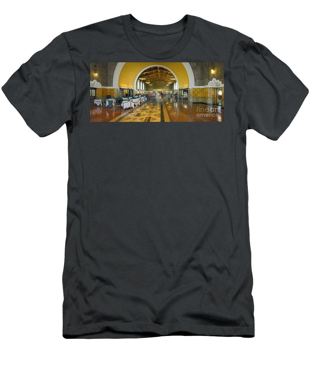 Hussel And Bussel At The Union Train Station Los Angeles Ca Men's T-Shirt (Athletic Fit) featuring the photograph Hussel And Bussel At The Union Train Station Los Angeles Ca by David Zanzinger