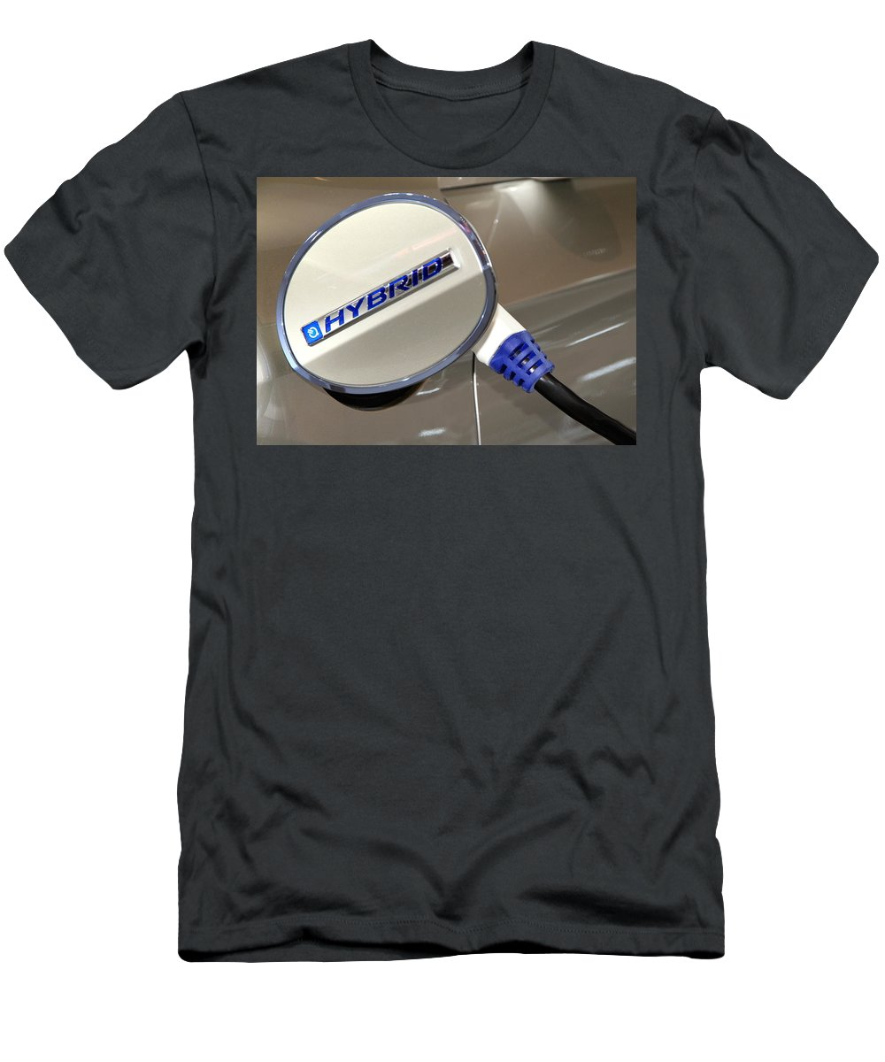 Auto Men's T-Shirt (Athletic Fit) featuring the photograph Hybrid Vehicle Recharge by Valentino Visentini