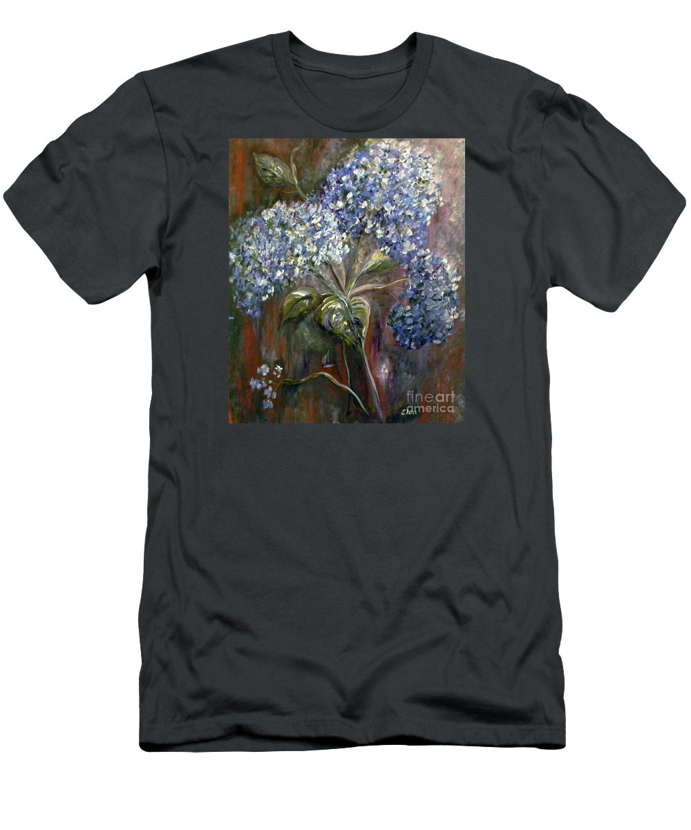 Hydrangea Men's T-Shirt (Athletic Fit) featuring the painting Hydrangea Bouquet At Dawn by Eloise Schneider Mote