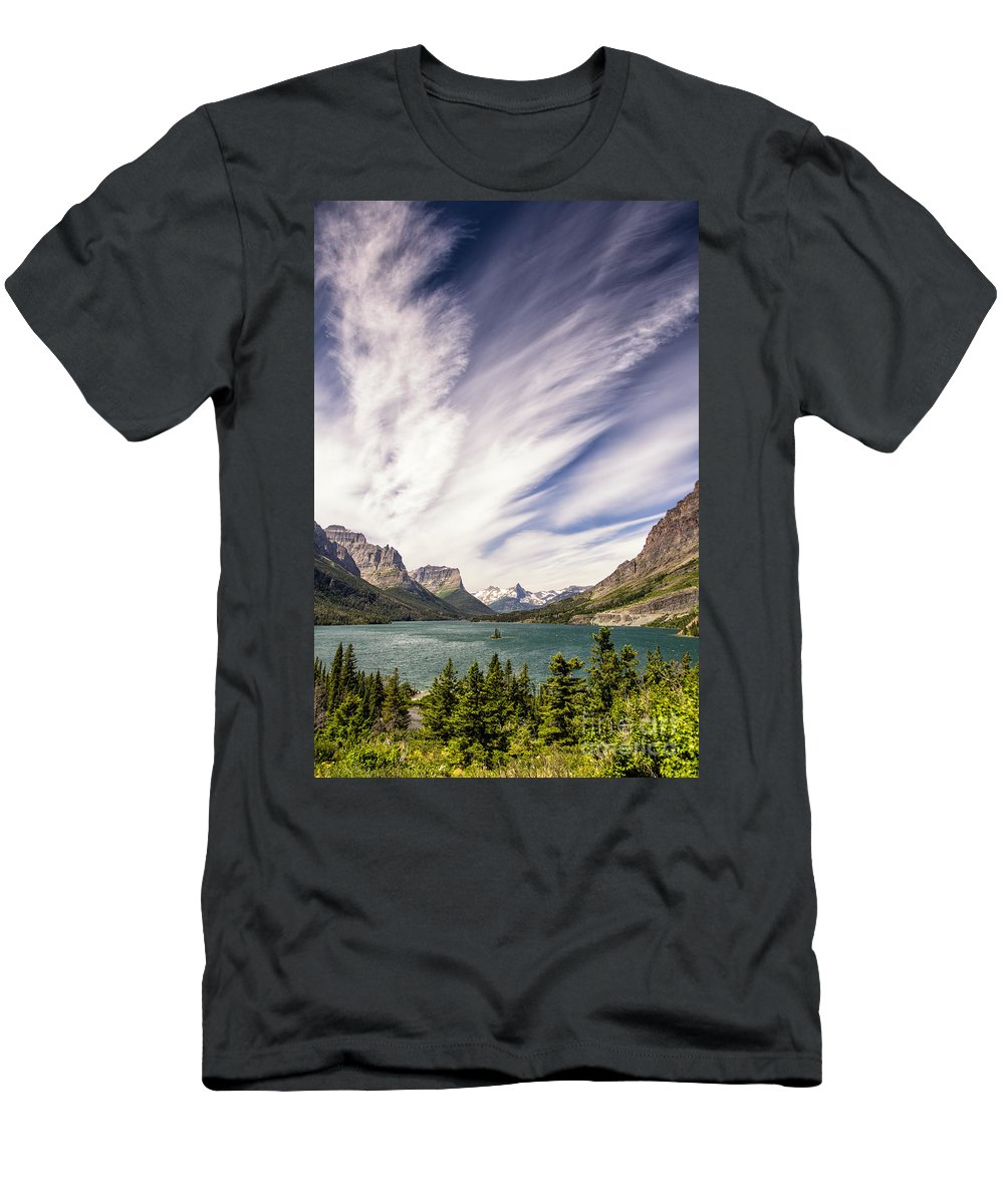 Glacier Men's T-Shirt (Athletic Fit) featuring the photograph Iconic Wild Goose Island by Timothy Hacker