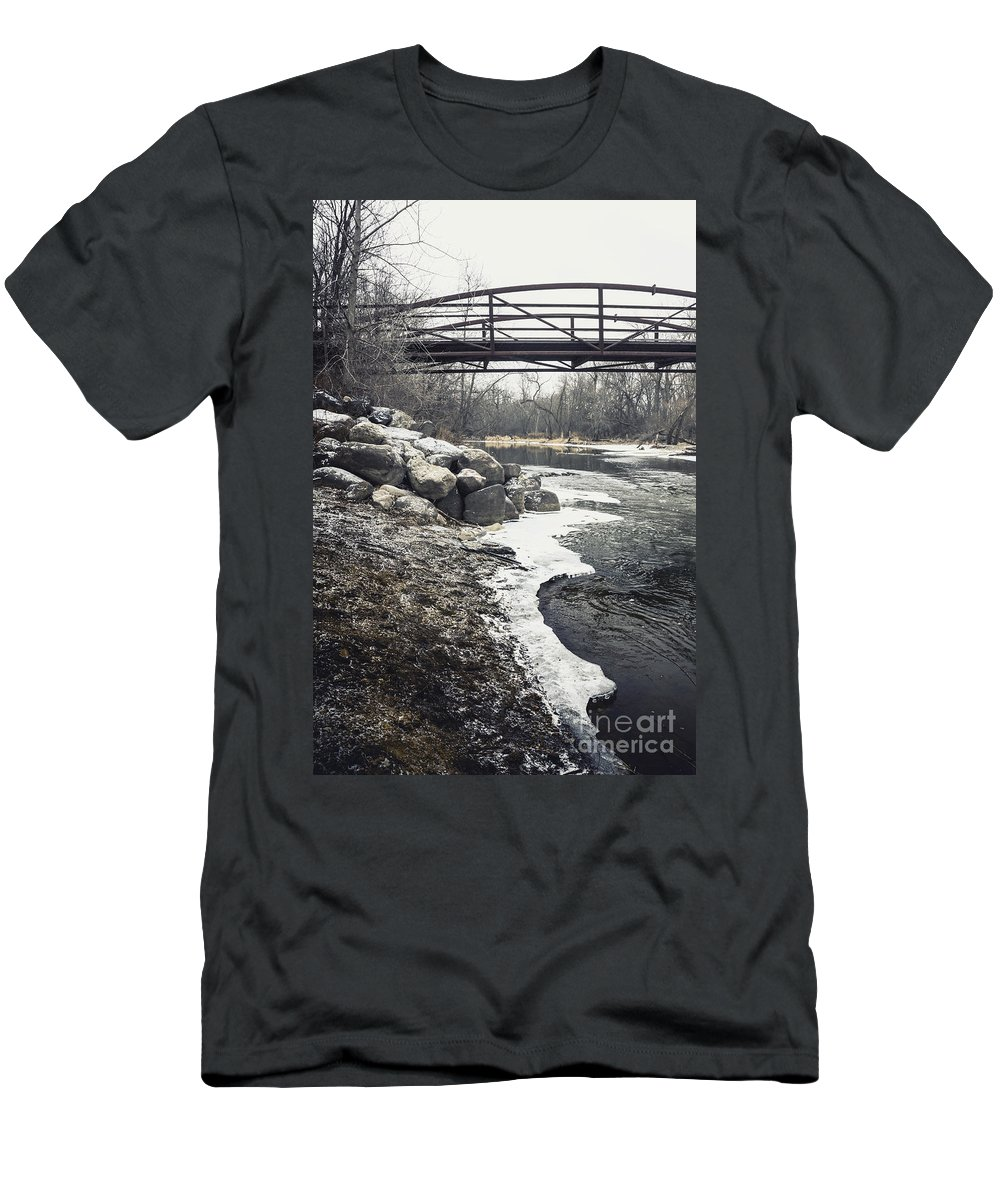 Outside Men's T-Shirt (Athletic Fit) featuring the photograph Icy River by Margie Hurwich