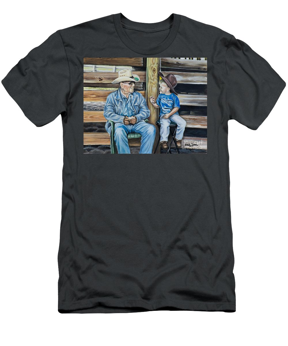 Cowboy Men's T-Shirt (Athletic Fit) featuring the painting In Cahoots by Monica Turner