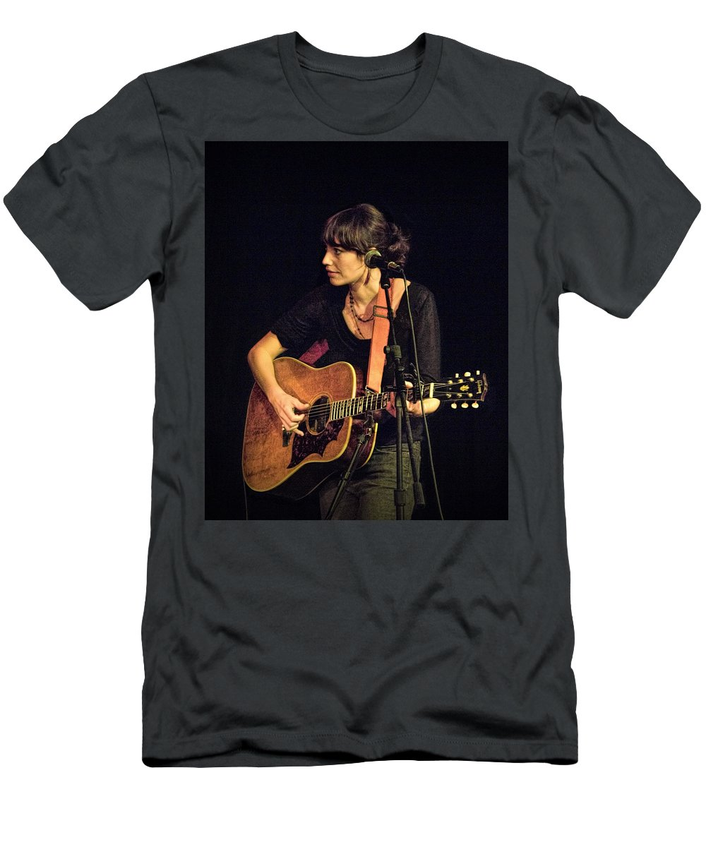 Art Men's T-Shirt (Athletic Fit) featuring the photograph In Concert With Folk Singer Pieta Brown by Randall Nyhof