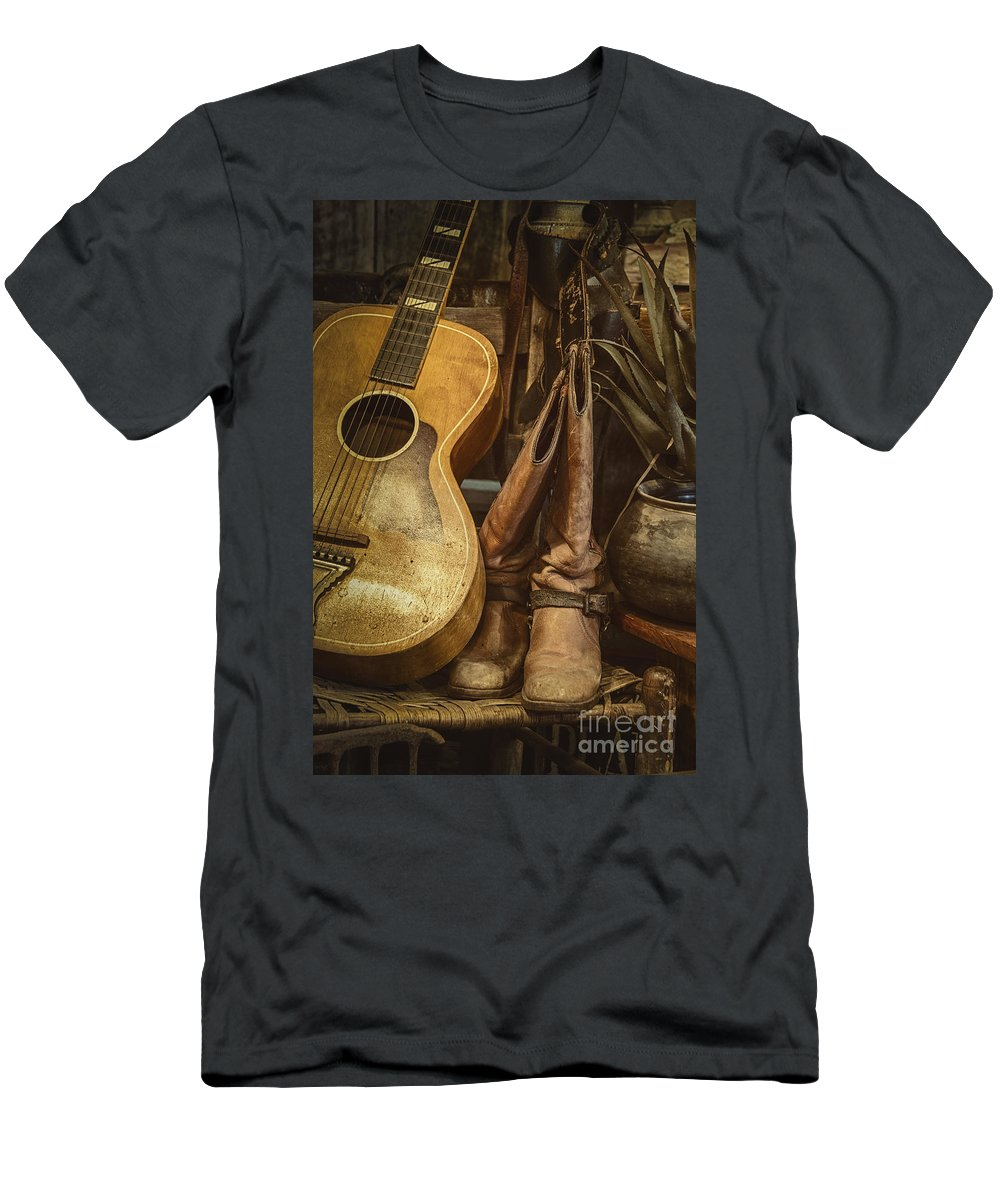 Guitar Men's T-Shirt (Athletic Fit) featuring the photograph In Cowboys Dreams by Margie Hurwich