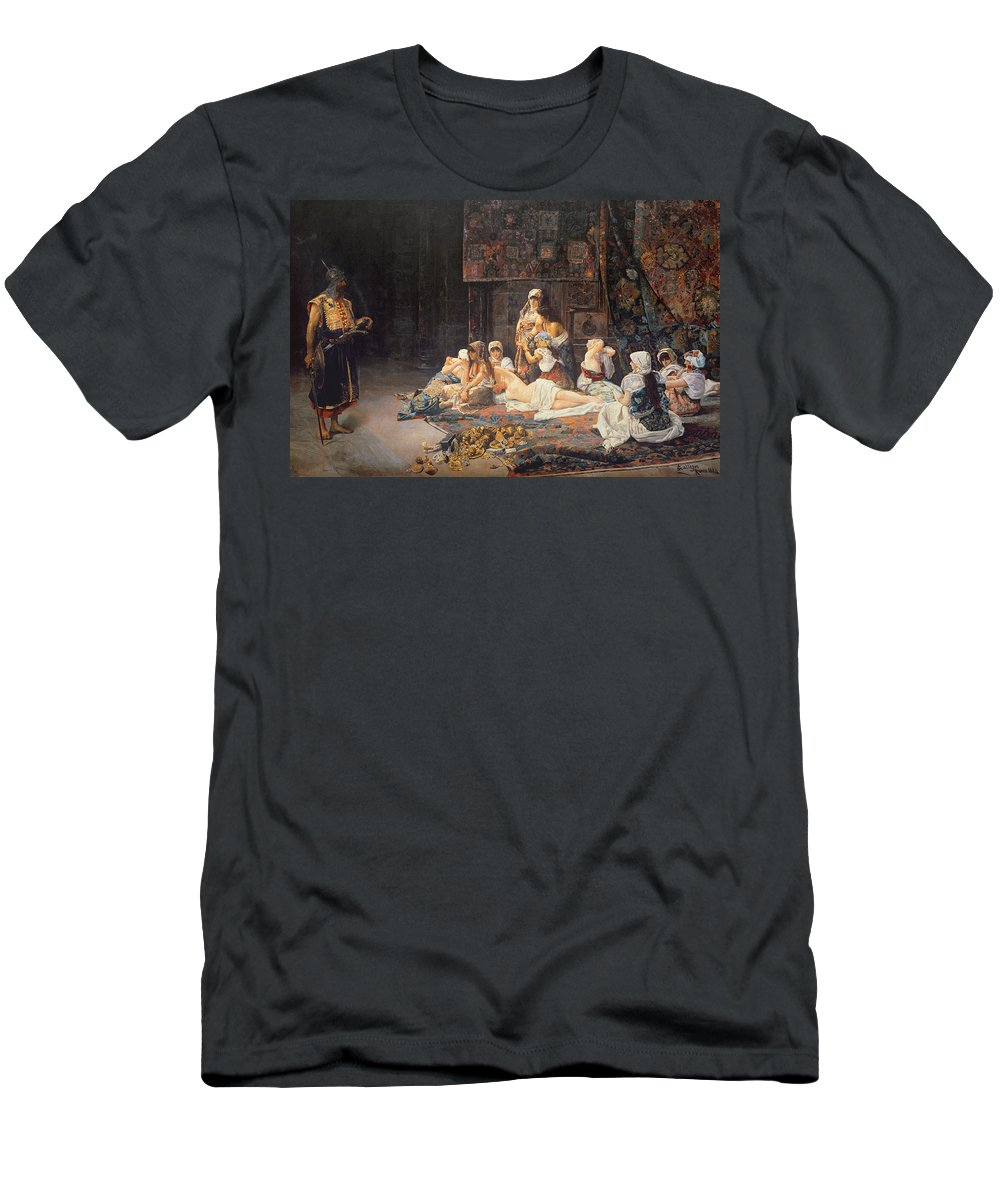 Au Serail Men's T-Shirt (Athletic Fit) featuring the painting In The Harem by Jose Gallegos Arnosa