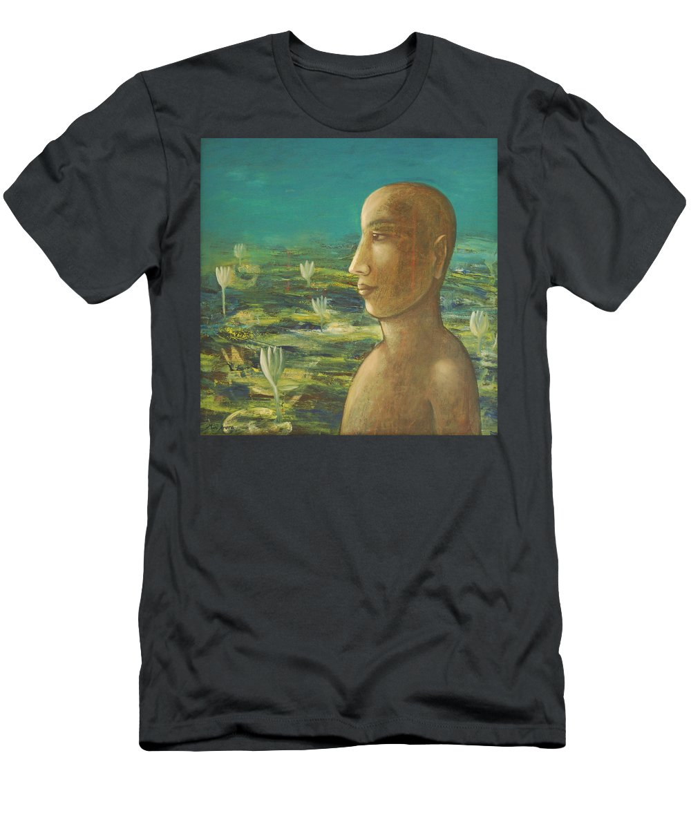Buddha Men's T-Shirt (Athletic Fit) featuring the painting In The Realm Of Buddha by Mini Arora