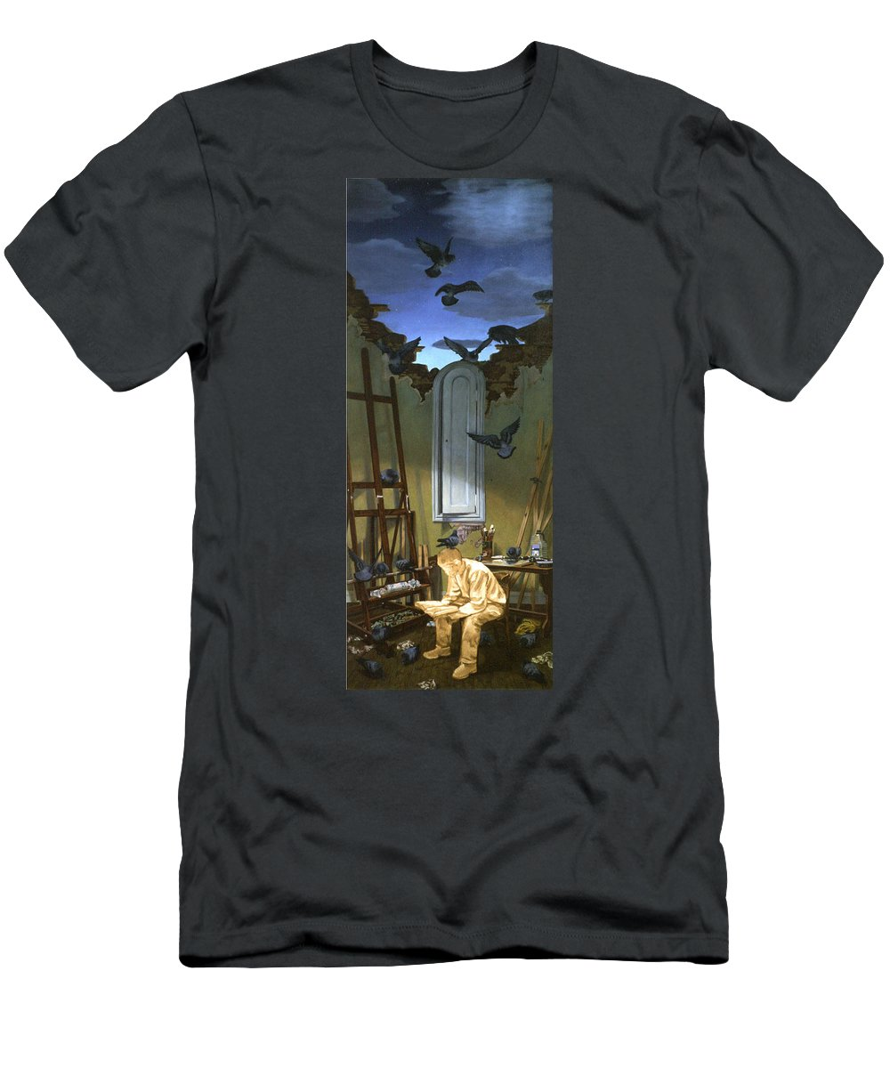 Surrealism Men's T-Shirt (Athletic Fit) featuring the painting Indecision by Kenneth Cobb