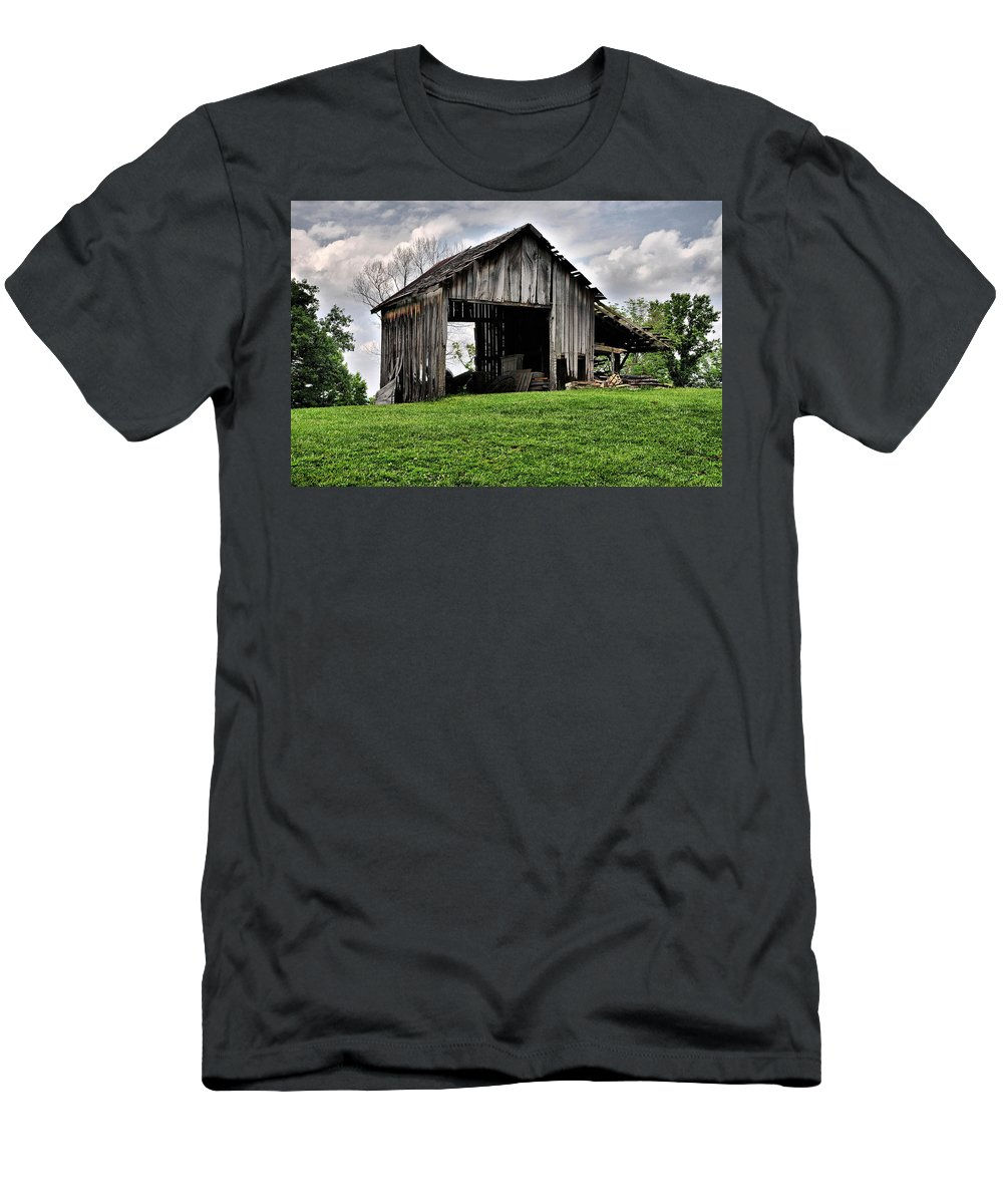 Agriculture Men's T-Shirt (Athletic Fit) featuring the photograph Indiana Barn by Sharon Meyer