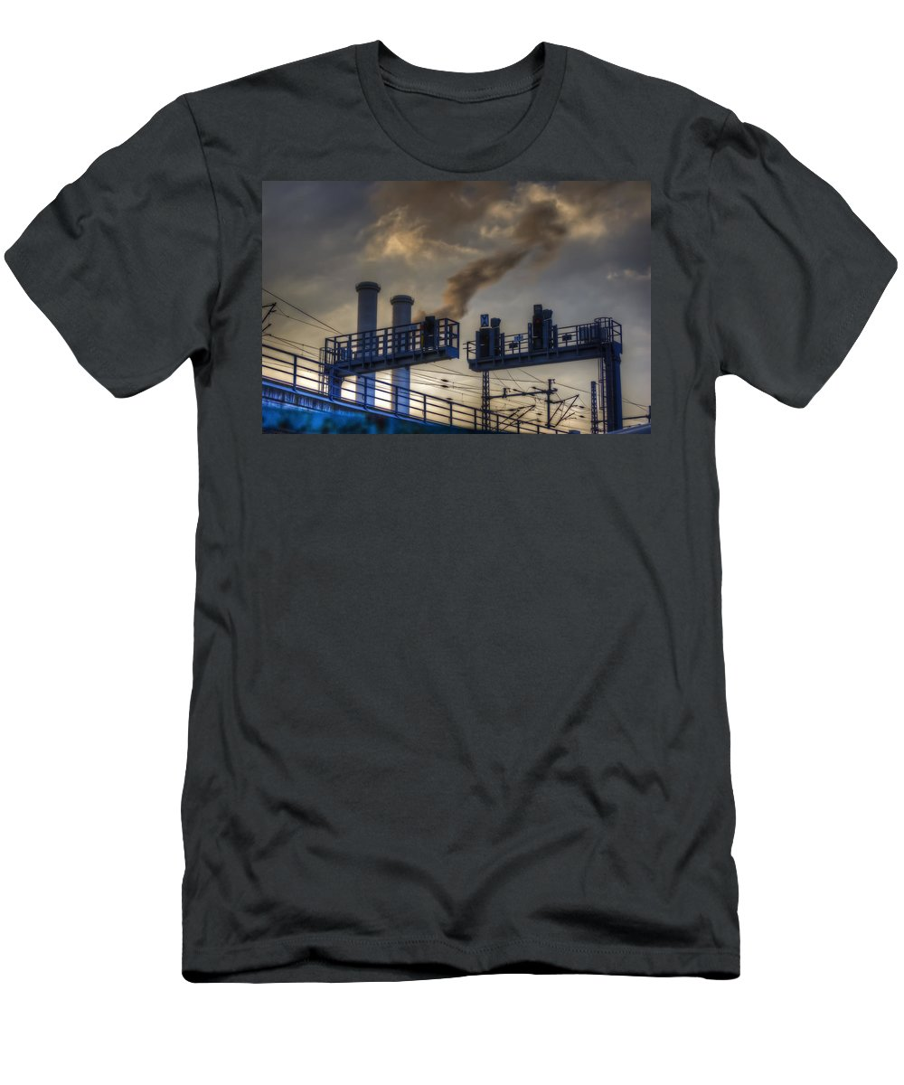 Industrial Men's T-Shirt (Athletic Fit) featuring the digital art Industrail Sunset by Nathan Wright