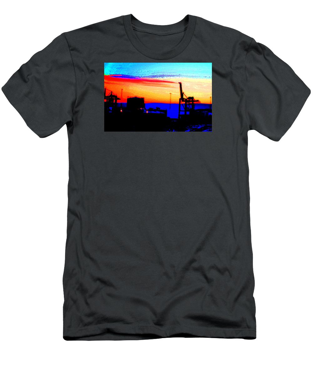 Sun Men's T-Shirt (Athletic Fit) featuring the photograph admire an Industrial sunset, because culture is also nature by Hilde Widerberg