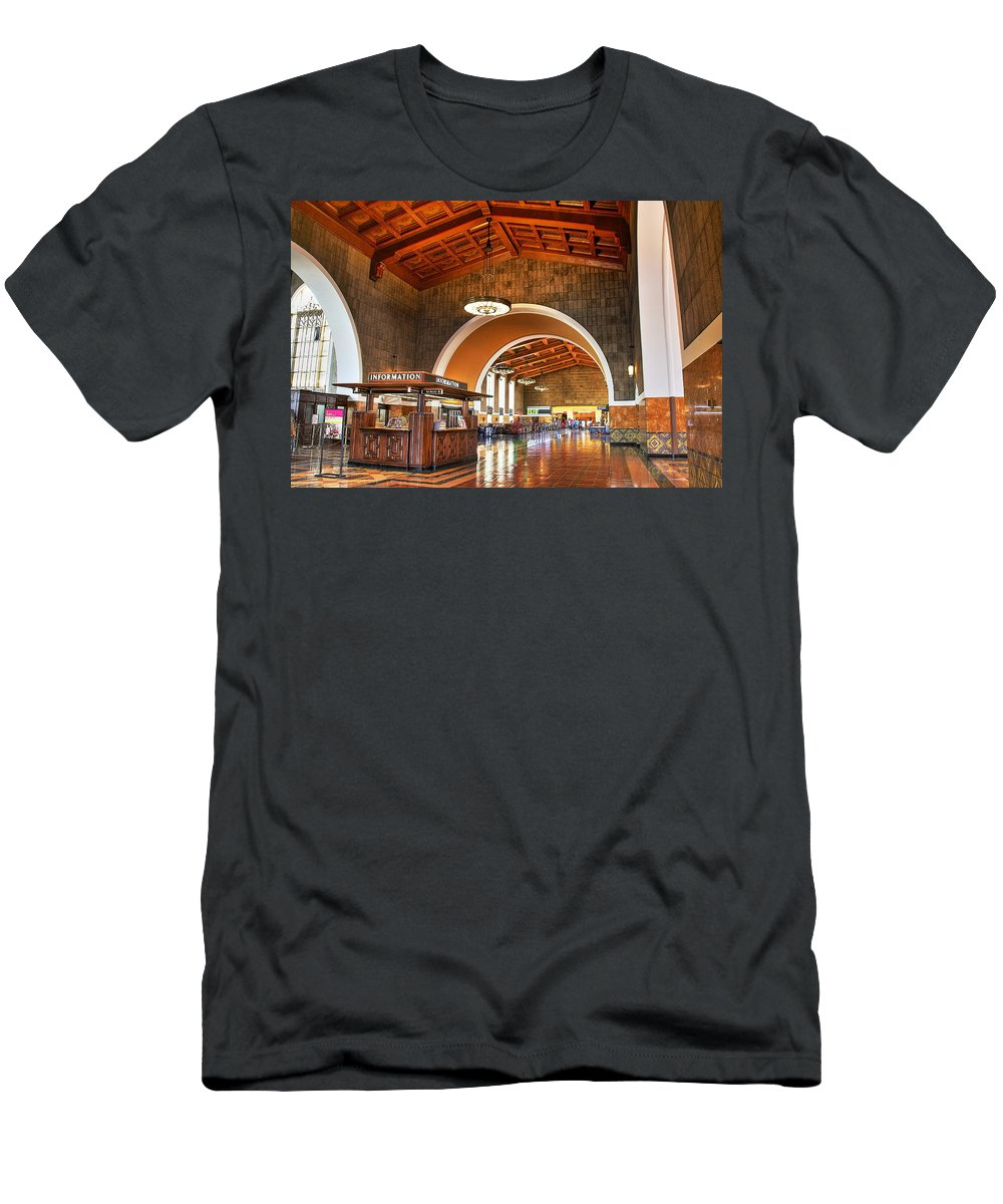 Los Angeles Union Station Men's T-Shirt (Athletic Fit) featuring the photograph Inside Los Angeles Union Station by Richard Cheski