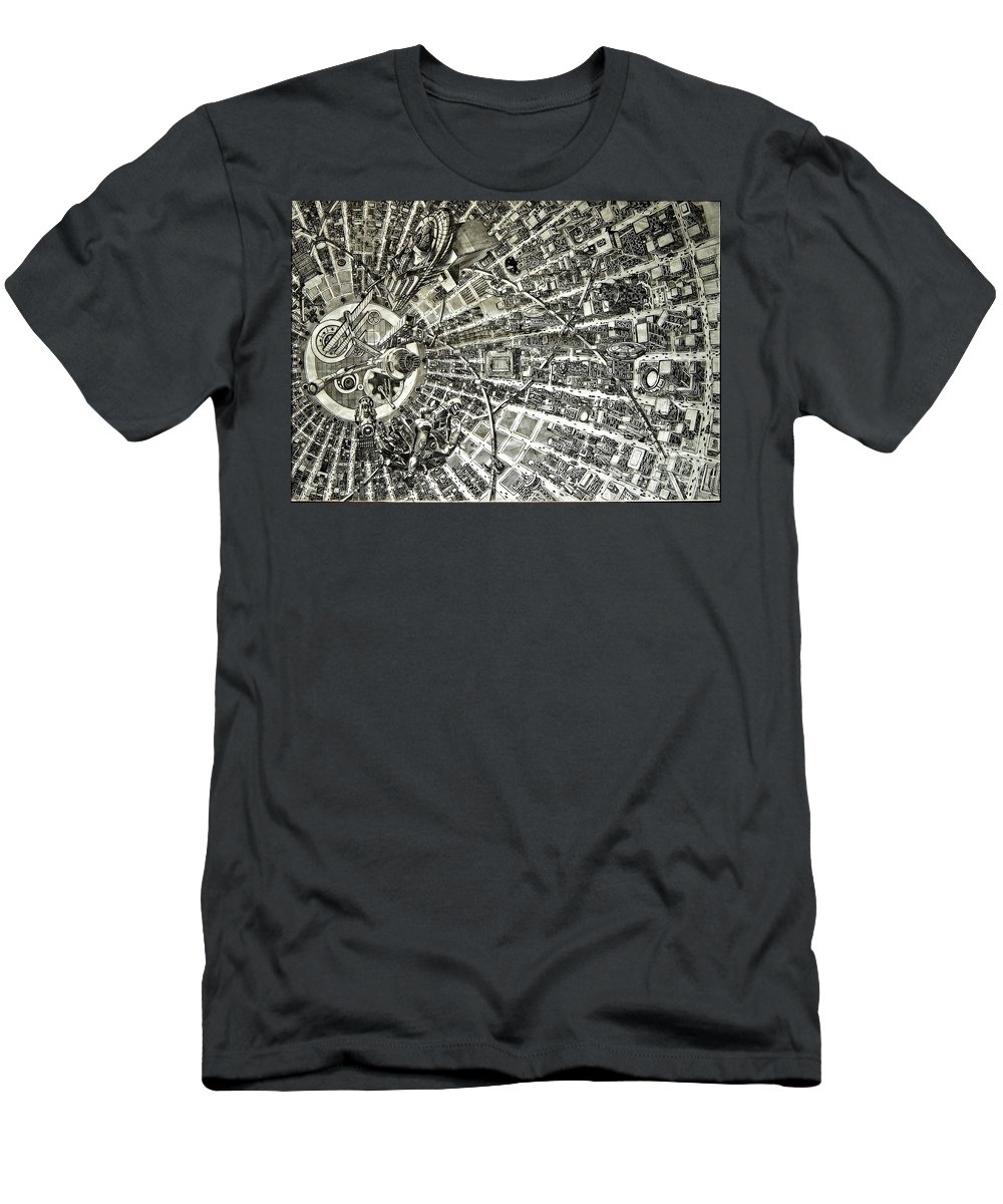 Cityscape Men's T-Shirt (Athletic Fit) featuring the drawing Inside Orbital City by Murphy Elliott