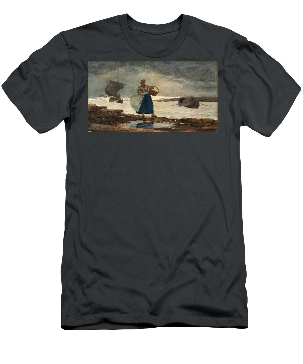 Winslow Homer Men's T-Shirt (Athletic Fit) featuring the drawing Inside The Bar by Winslow Homer