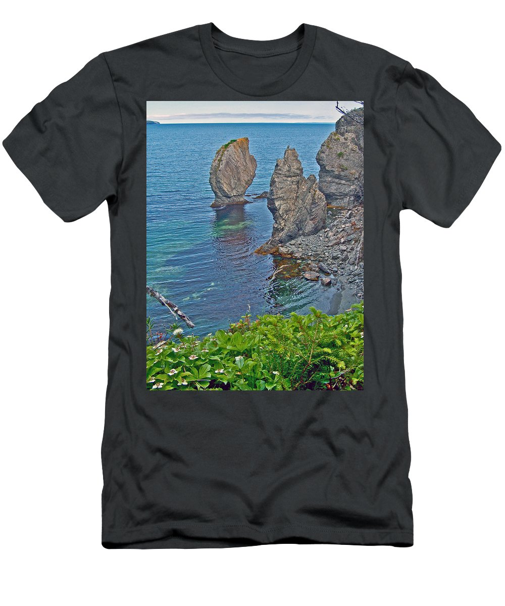 Interesting Rock Shapes In Trinity Bay Near Skerwink Trail Men's T-Shirt (Athletic Fit) featuring the photograph Interesting Rock Shapes In Trinity Bay Near Skerwink Trail-nl by Ruth Hager