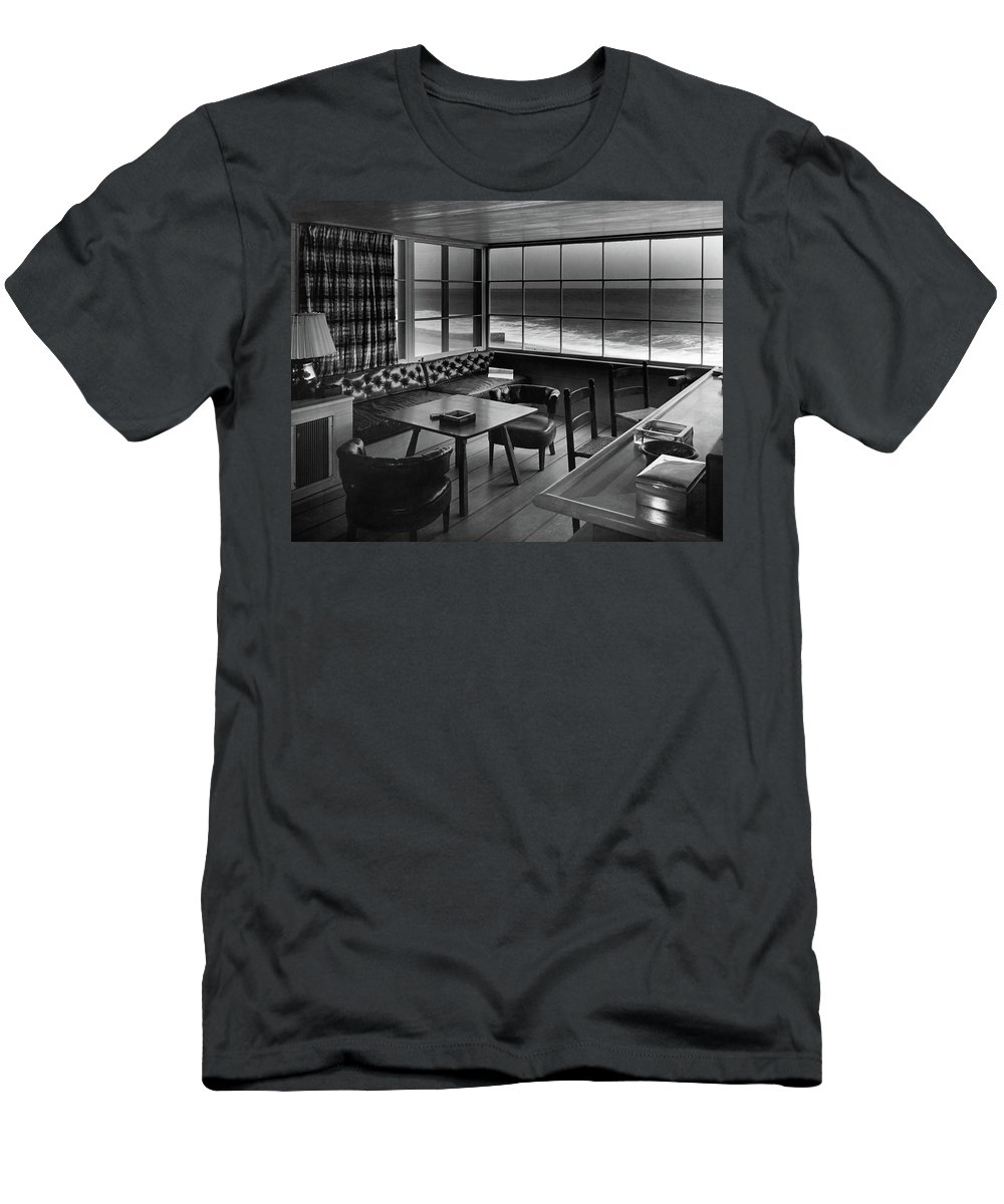 Interior T-Shirt featuring the photograph Interior Of Beach House Owned By Anatole Litvak by Fred R. Dapprich
