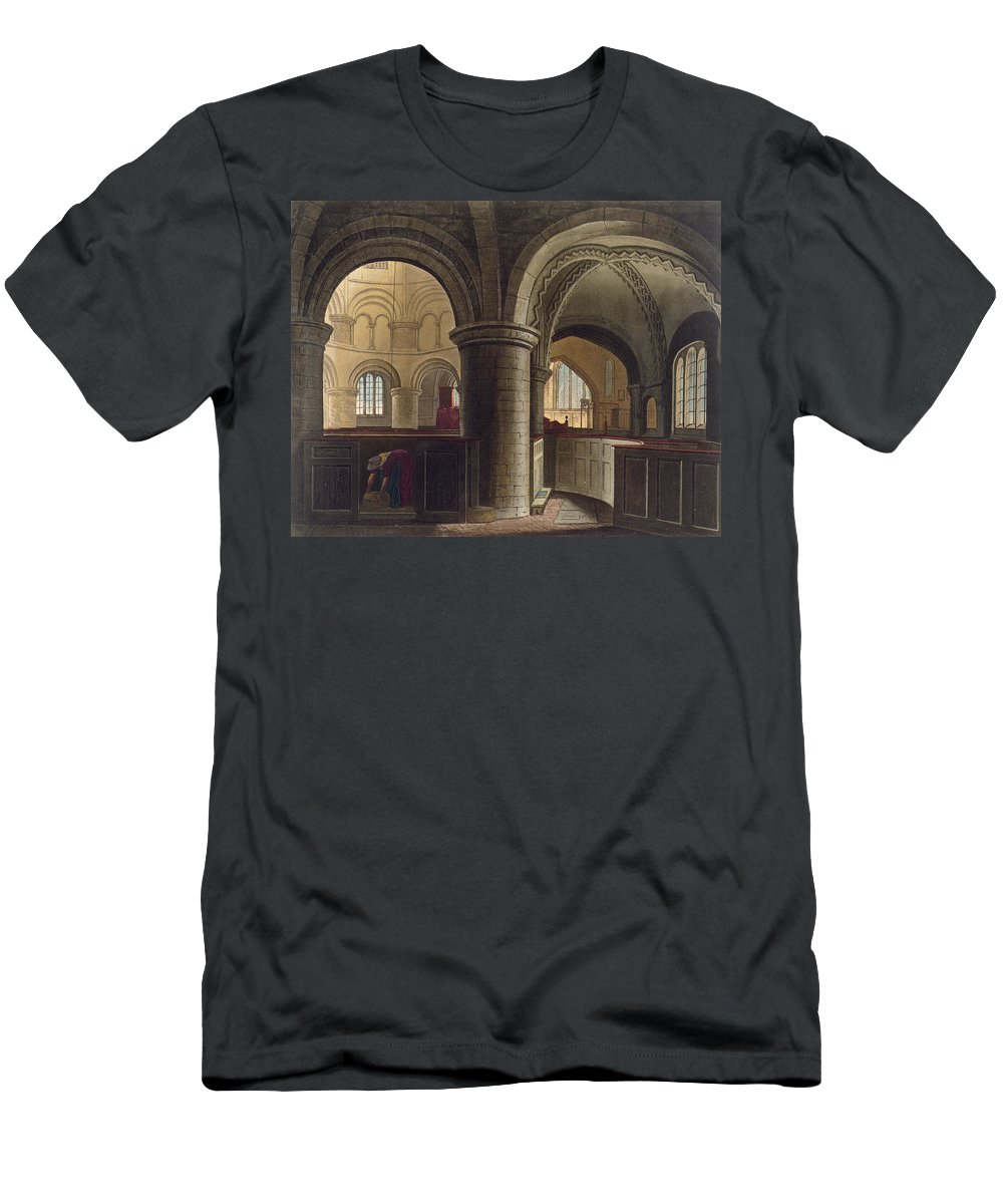 Pier Men's T-Shirt (Athletic Fit) featuring the drawing Interior Of The Church Of The Holy by Augustus Charles Pugin