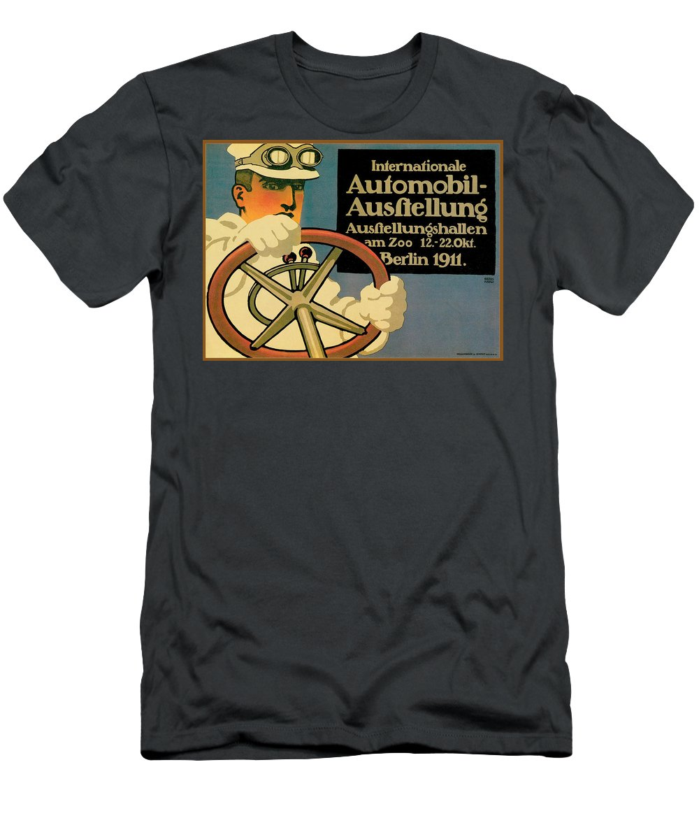 Vintage Automobile Ads And Posters Men's T-Shirt (Athletic Fit) featuring the photograph Internationale Automobile Ausftellung by Vintage Automobile Ads and Posters