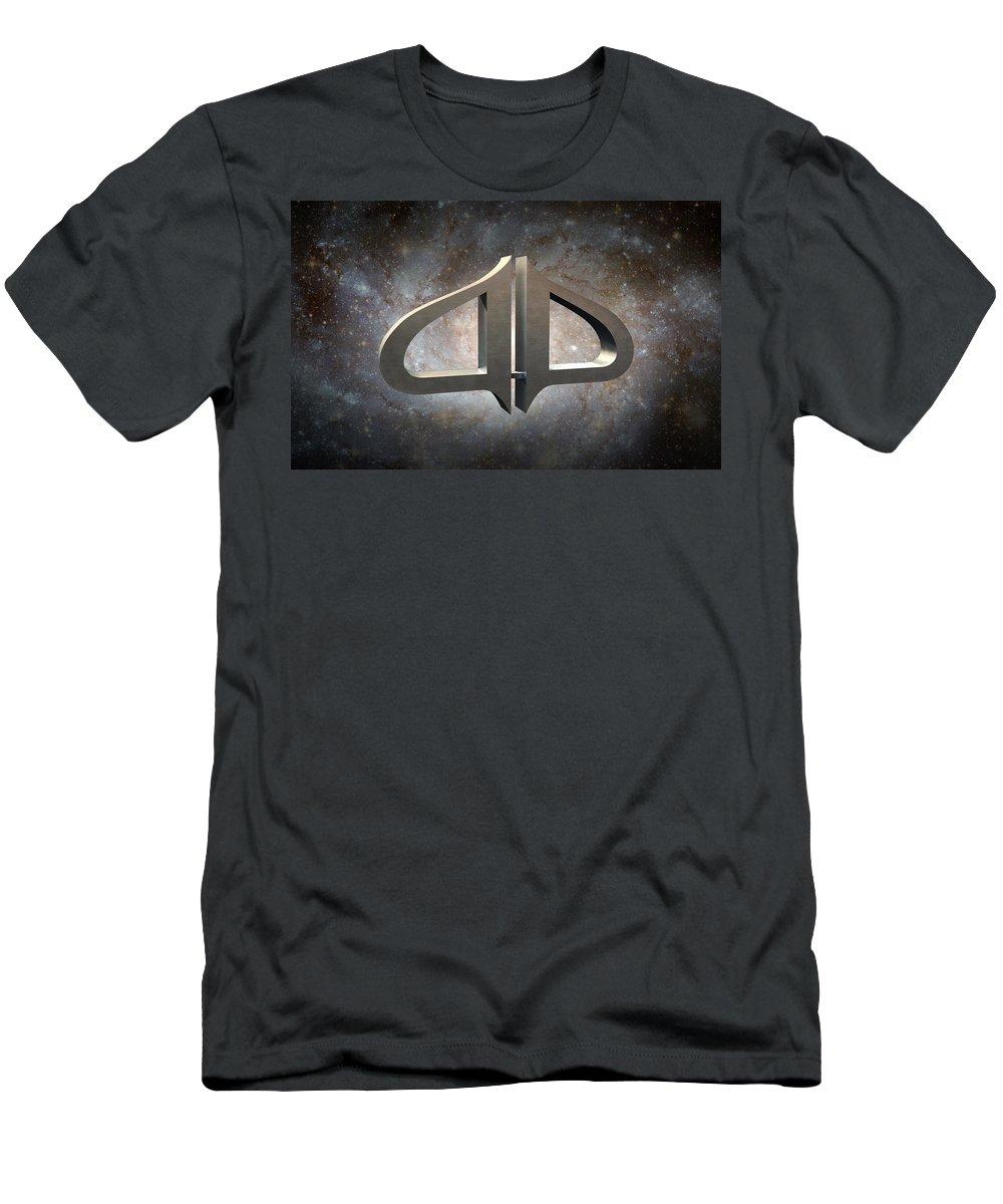 Galaxy Travel Men's T-Shirt (Athletic Fit) featuring the digital art Interstellar Journeys 1 by Elle Nicolai