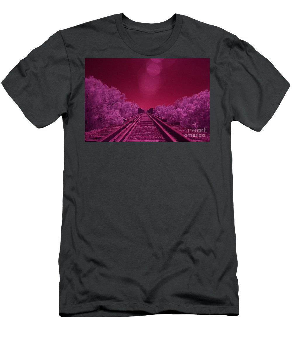 Railroad Men's T-Shirt (Athletic Fit) featuring the photograph Into The Darkness Of Light by Derry Murphy