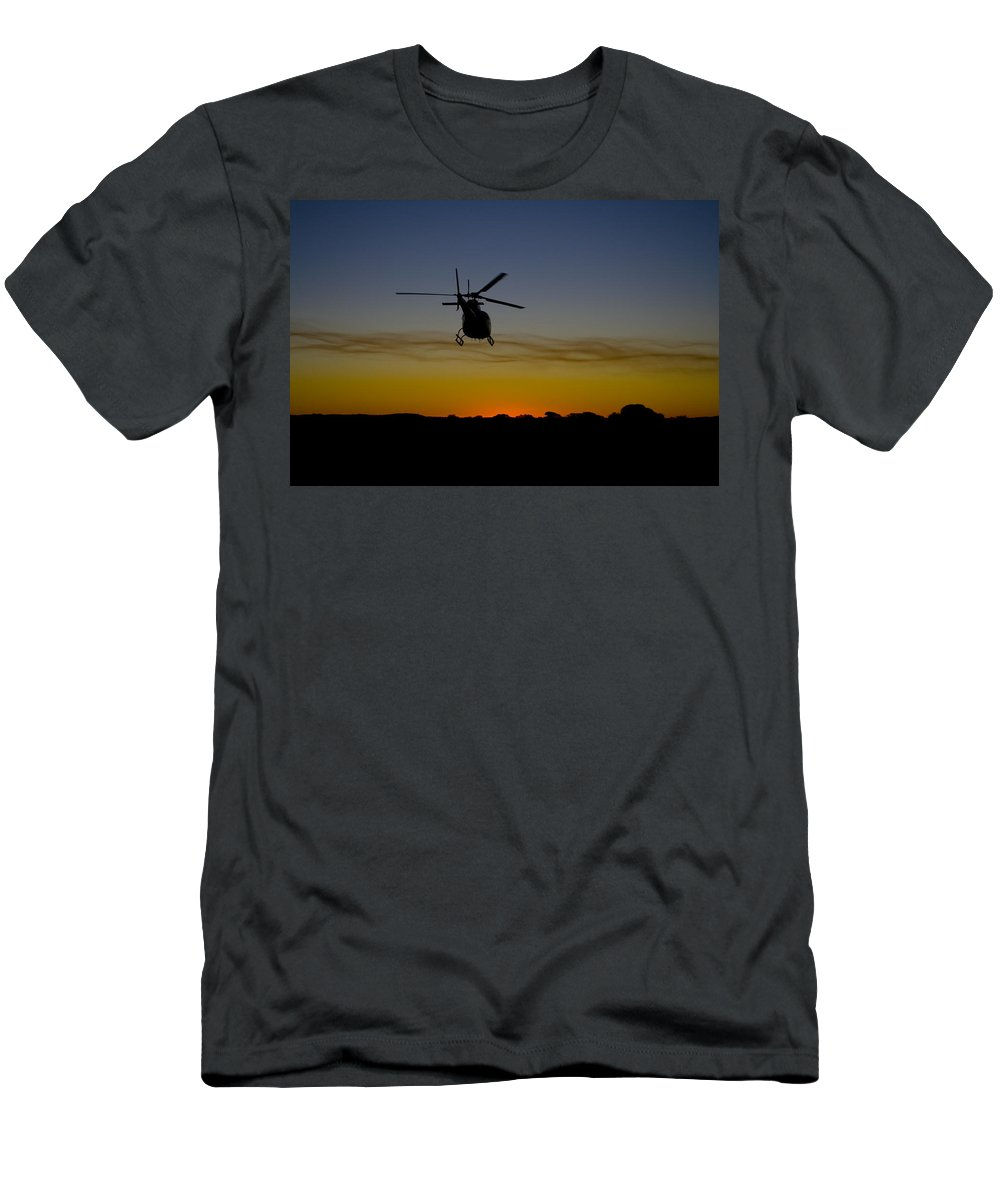 Eurocopter As350 B3 Men's T-Shirt (Athletic Fit) featuring the photograph Into The Sunset II by Paul Job