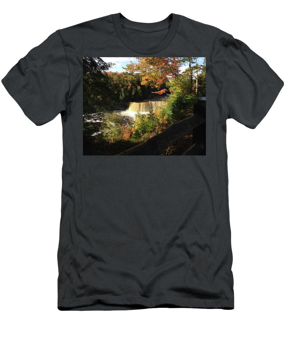 Tahquamenon Falls Men's T-Shirt (Athletic Fit) featuring the photograph iphone Tahquamenon picture by Linda Kerkau