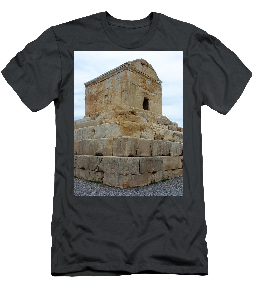 Cyrus The Great Men's T-Shirt (Athletic Fit) featuring the photograph Iran Cyrus Tomb Pasargadae by Lois Ivancin Tavaf