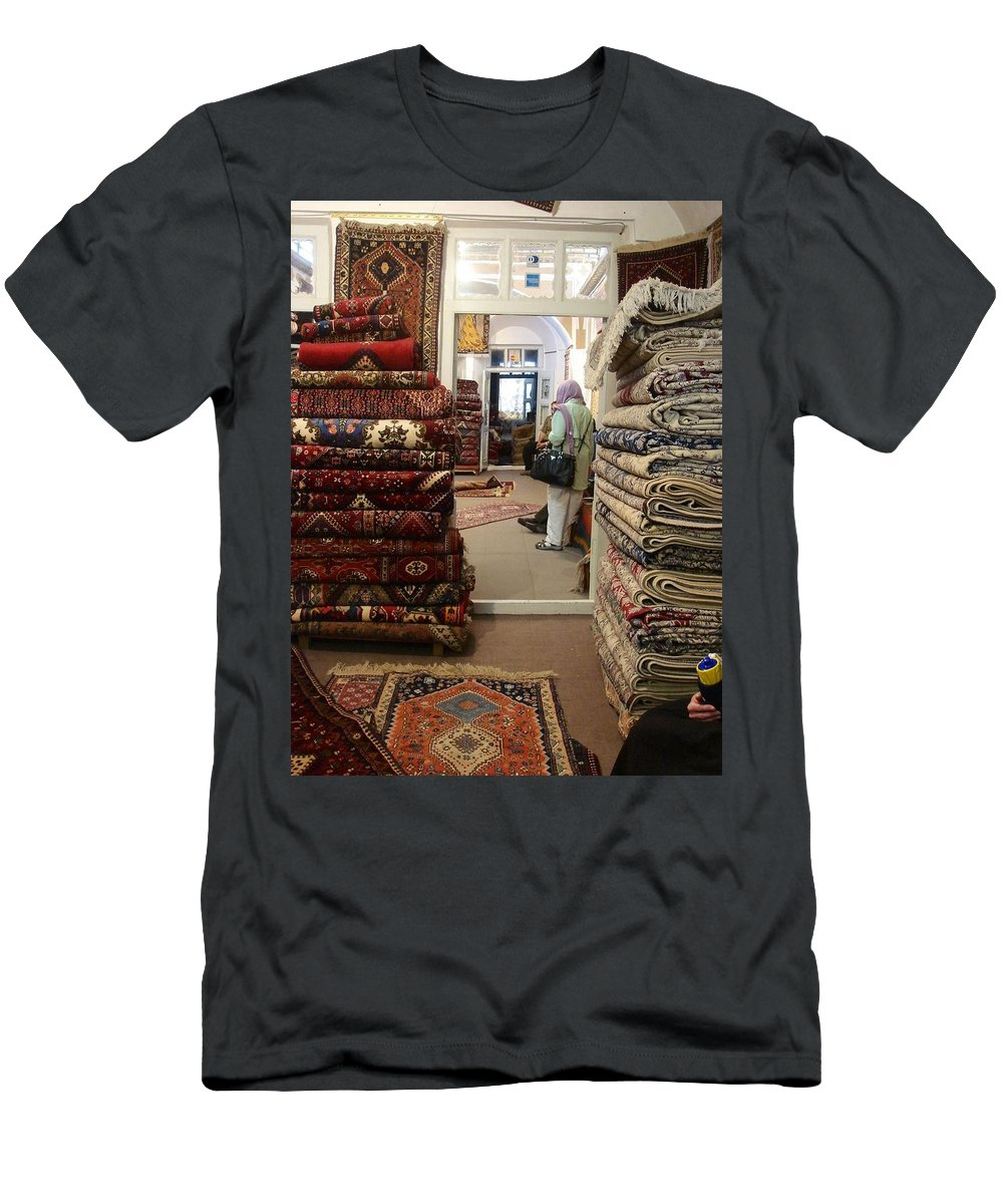 Carpet Men's T-Shirt (Athletic Fit) featuring the photograph Iran Persian Carpets by Lois Ivancin Tavaf