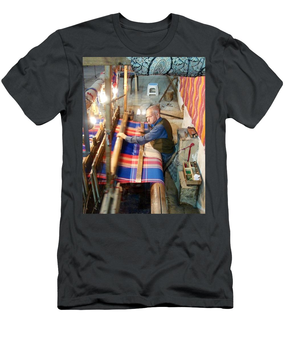 Weaver Men's T-Shirt (Athletic Fit) featuring the photograph Iran Textile Weaver by Lois Ivancin Tavaf