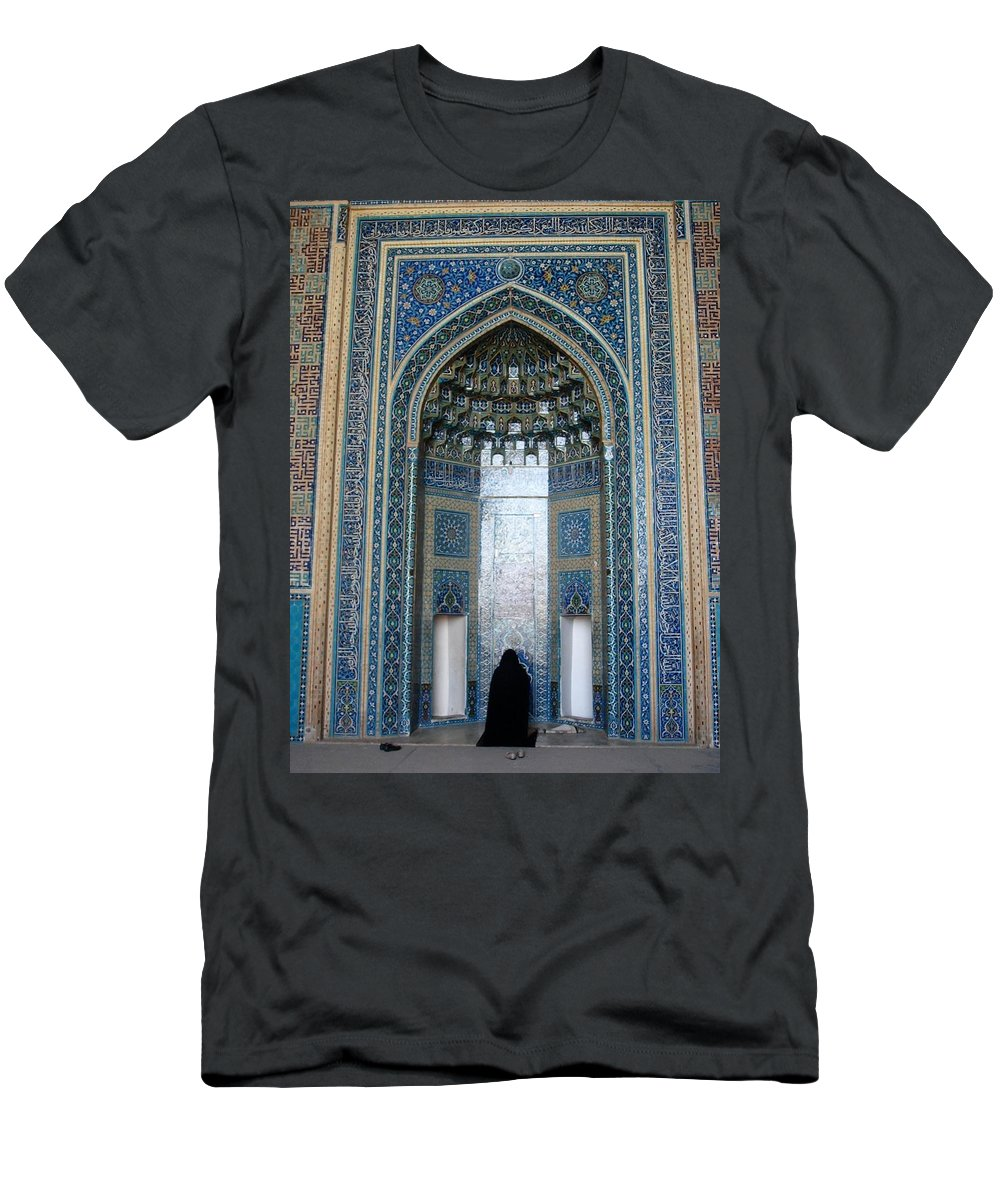 Yazd Men's T-Shirt (Athletic Fit) featuring the photograph Iran Yazd Mosque Visitor by Lois Ivancin Tavaf