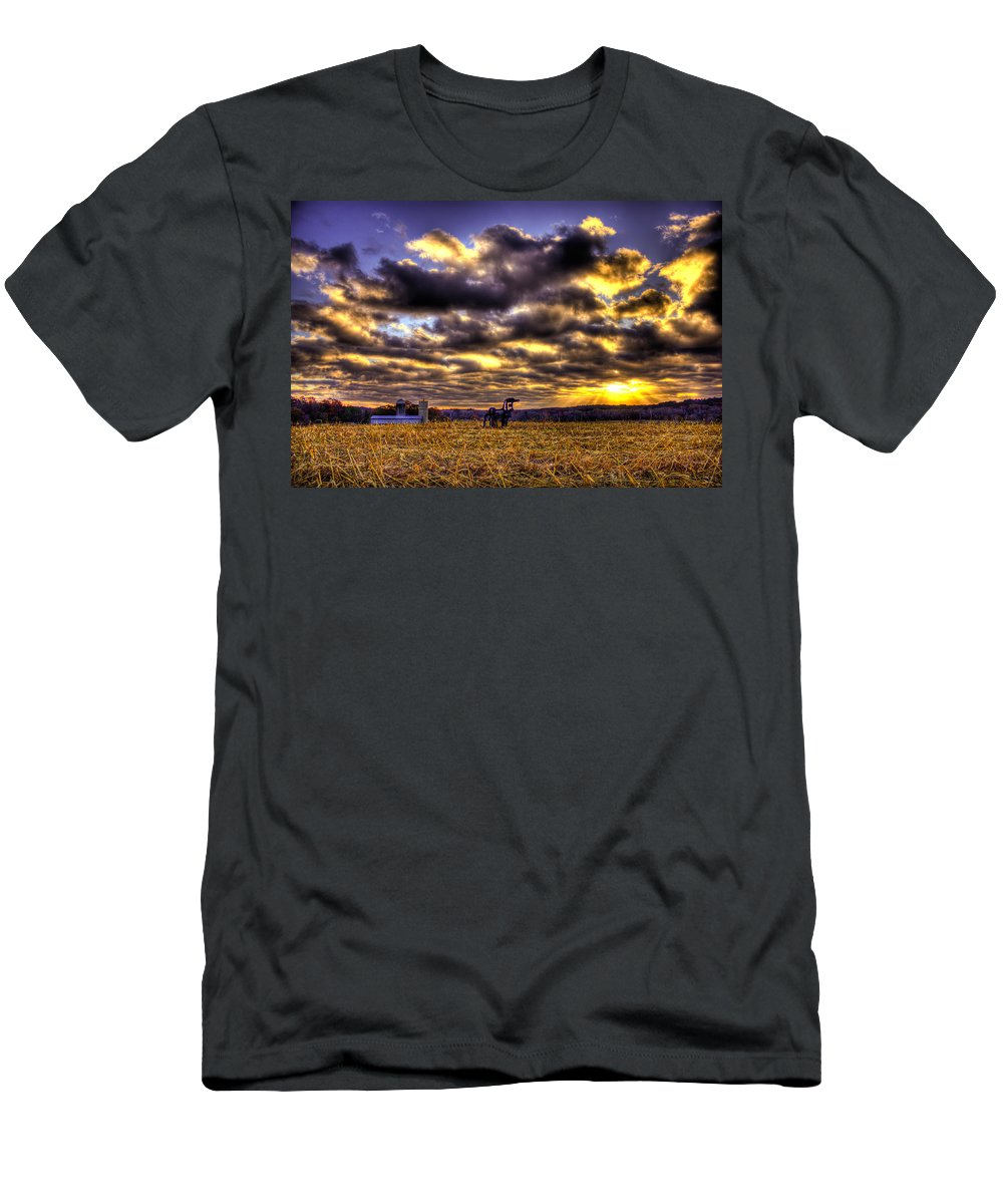 The Iron Horse Men's T-Shirt (Athletic Fit) featuring the photograph Iron Horse Still Strong by Reid Callaway