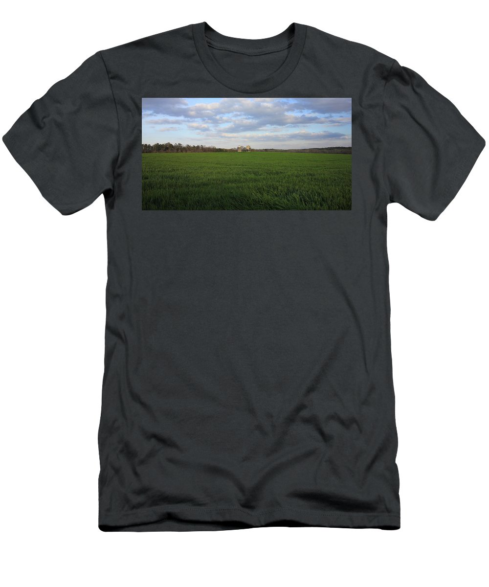 The Iron Horse Men's T-Shirt (Athletic Fit) featuring the photograph Great Friends Iron Horse Wheat Field And Silos by Reid Callaway