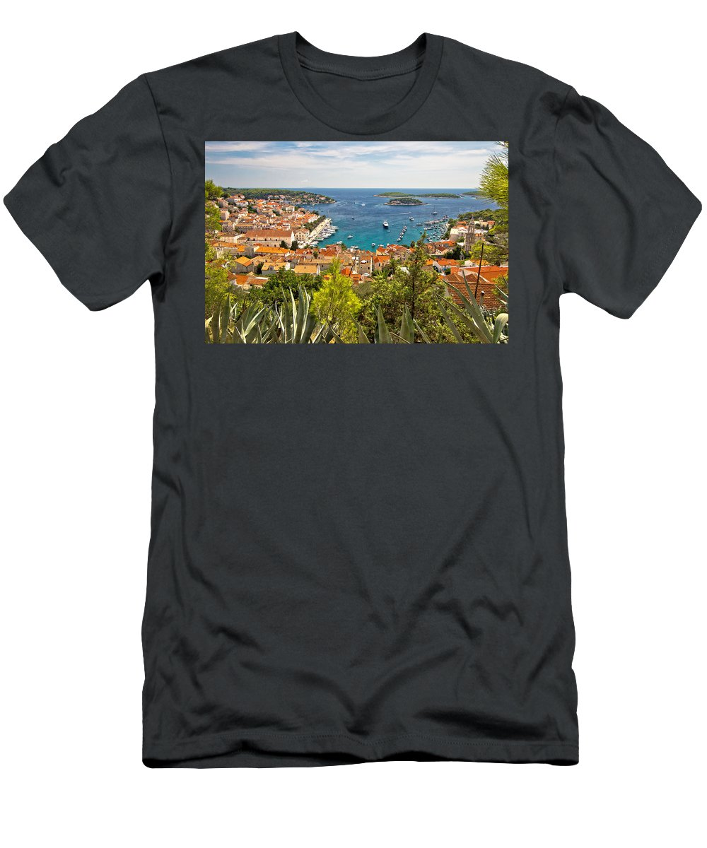 Panorama Men's T-Shirt (Athletic Fit) featuring the photograph Island Of Hvar Scenic Coast by Brch Photography