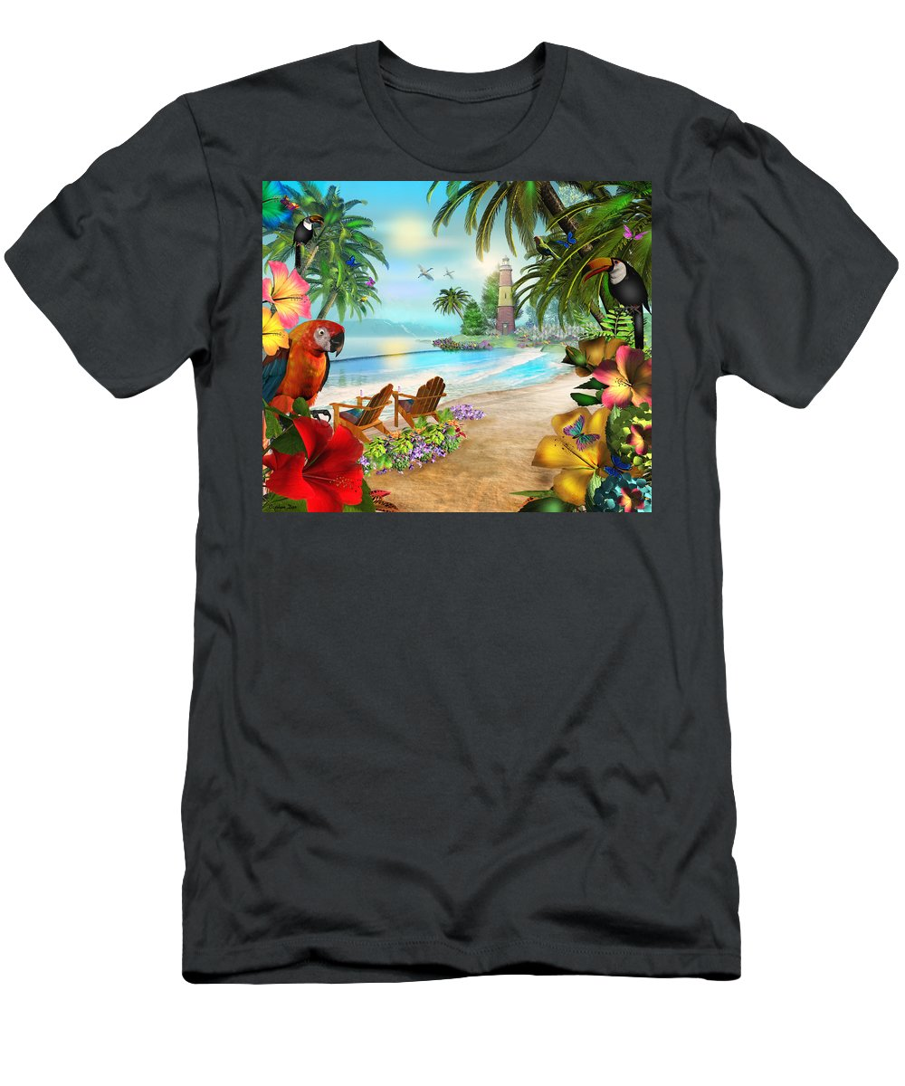 Art Licensing Men's T-Shirt (Athletic Fit) featuring the mixed media Island Of Palms by Caplyn Dor