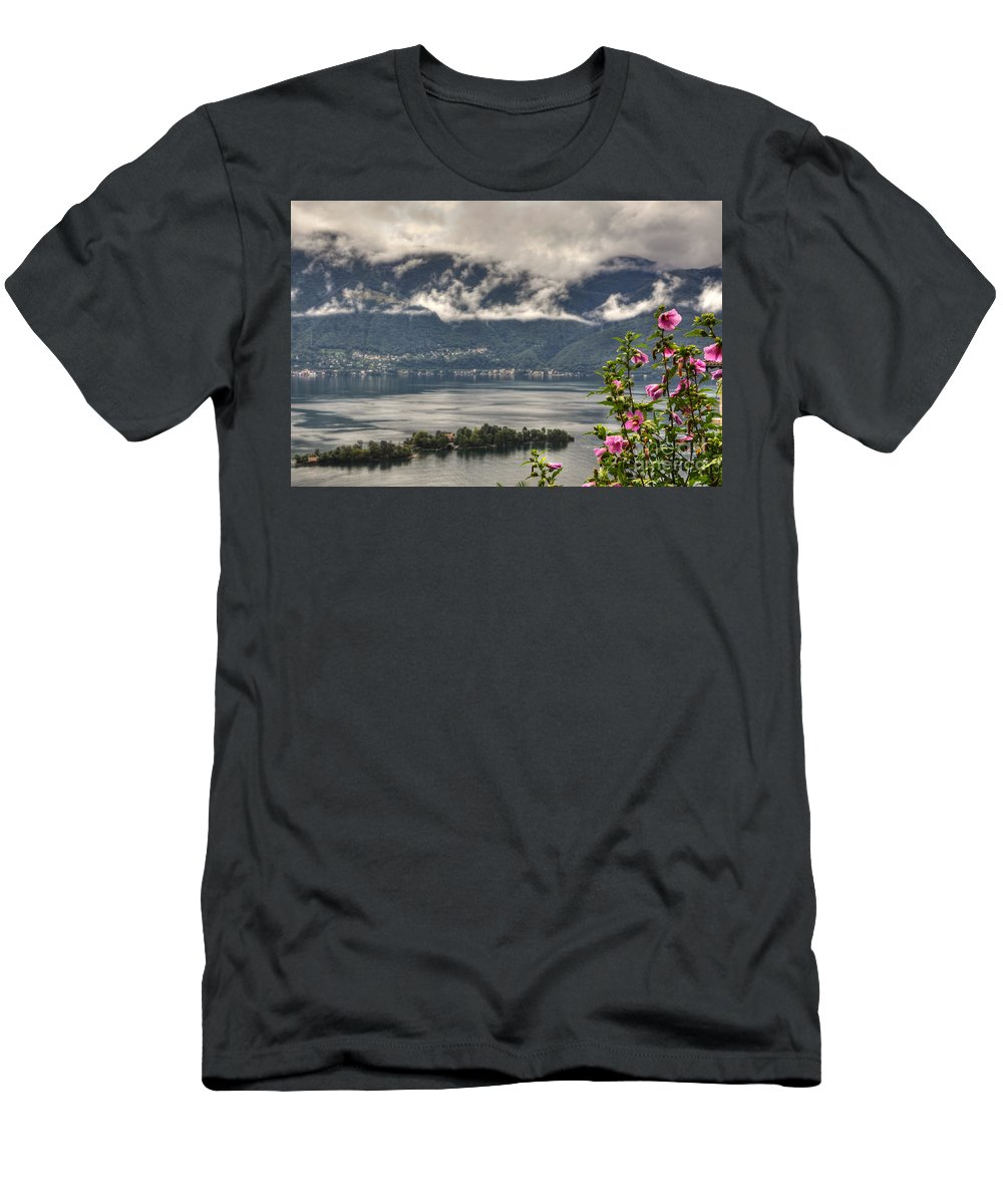 Lake Men's T-Shirt (Athletic Fit) featuring the photograph Islands And Flowers by Mats Silvan