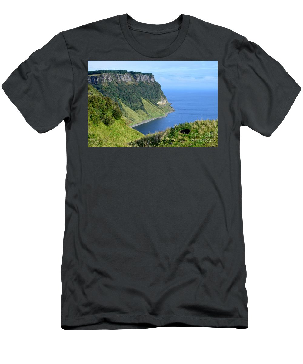 Bearreraig Men's T-Shirt (Athletic Fit) featuring the photograph Isle Of Skye Sea Cliffs by DejaVu Designs