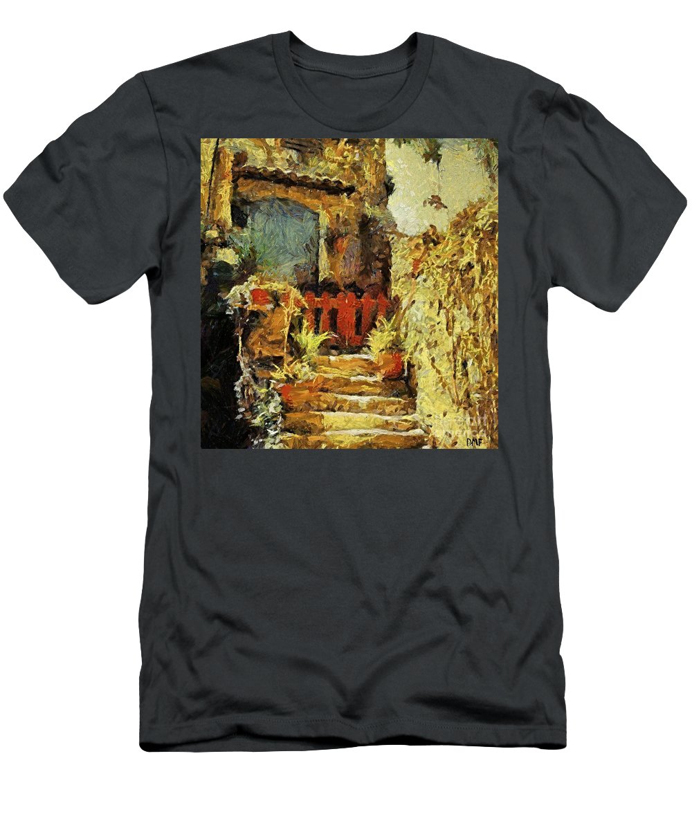 Landscapes Men's T-Shirt (Athletic Fit) featuring the painting Italian Courtyard by Dragica Micki Fortuna