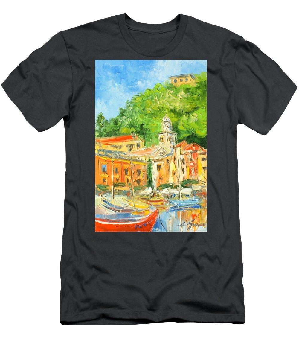 Portofino Men's T-Shirt (Athletic Fit) featuring the painting Italy - Portofino by Luke Karcz