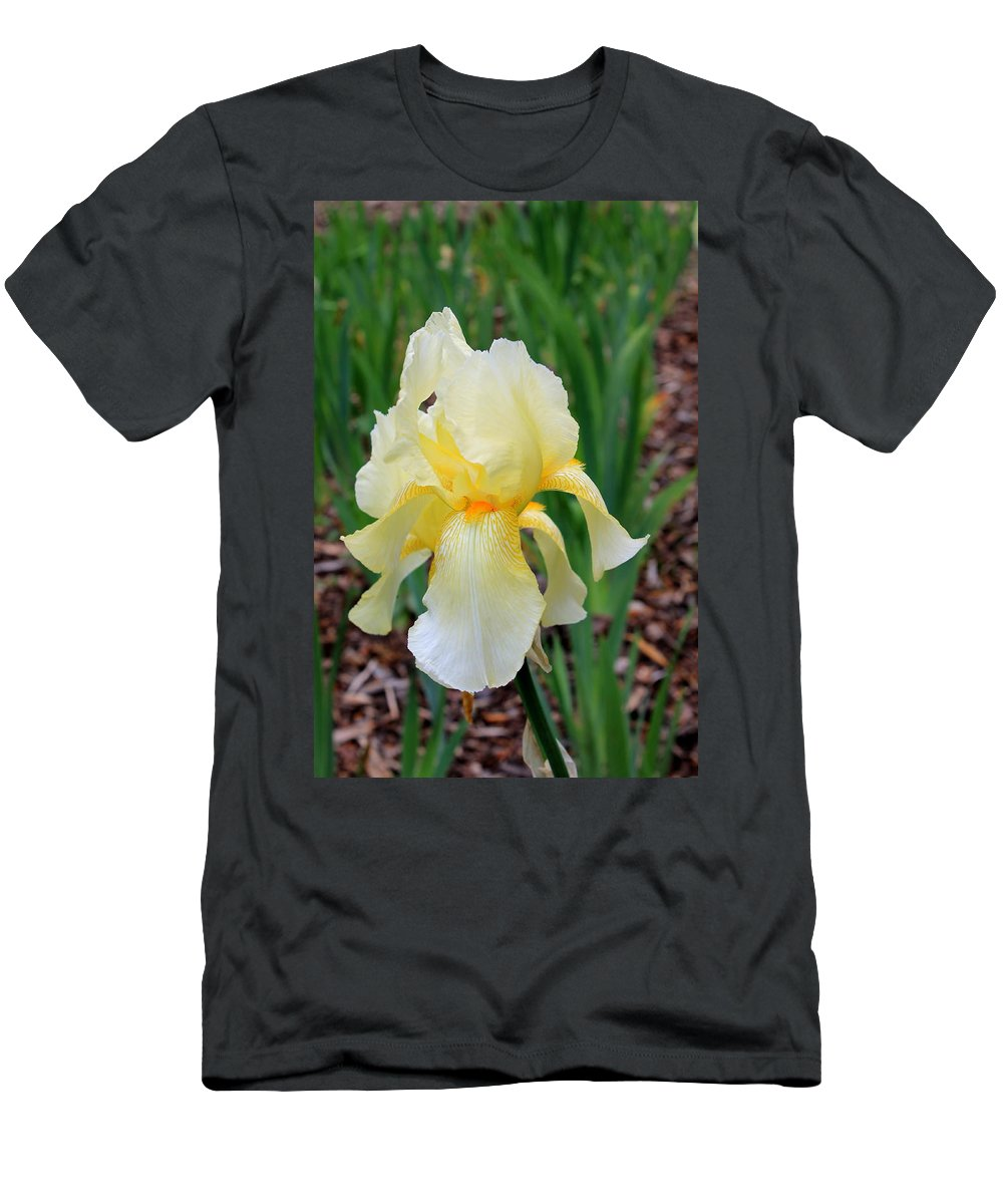 Ivory Men's T-Shirt (Athletic Fit) featuring the photograph Ivory And White Iris by Mary Koval