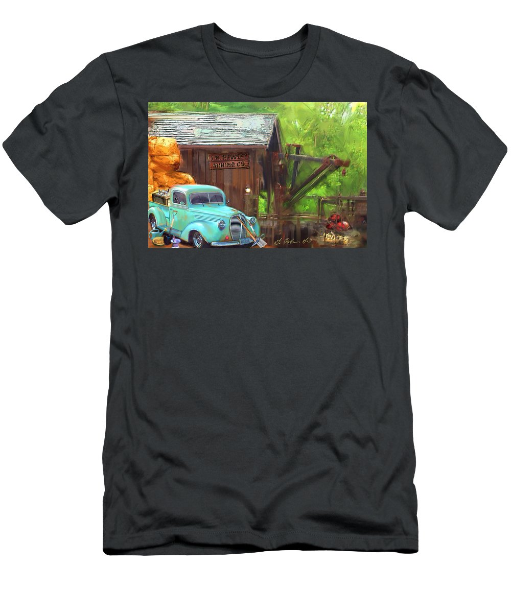 Truck Men's T-Shirt (Athletic Fit) featuring the painting J. R. Hewlet Mining Co. by Gerry Robins