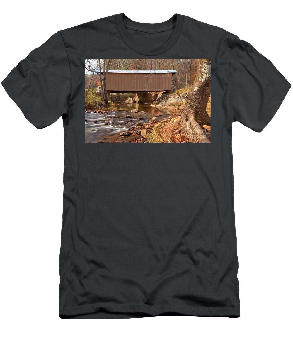 Smith River Men's T-Shirt (Athletic Fit) featuring the photograph Jacks Creek Bridge Over Smith River by Adam Jewell