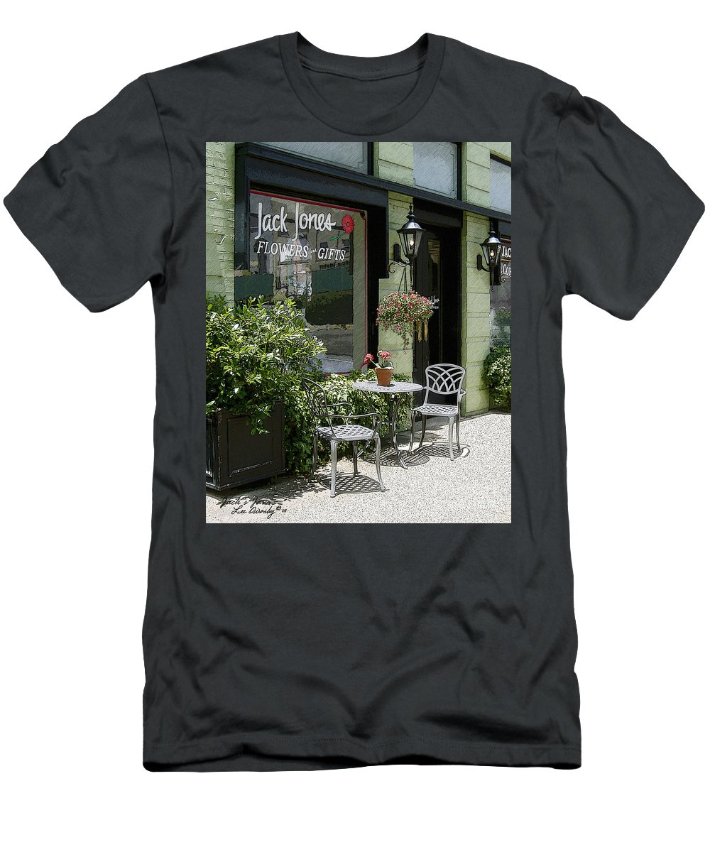 Windows On The Square Men's T-Shirt (Athletic Fit) featuring the photograph Jack's Java by Lee Owenby