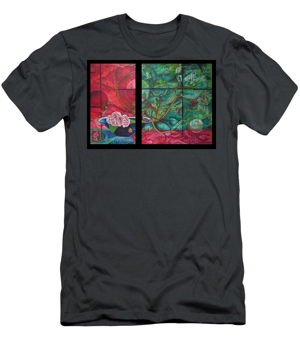 Men's T-Shirt (Athletic Fit) featuring the painting Japanesse Flower Arrangment by Joshua Morton