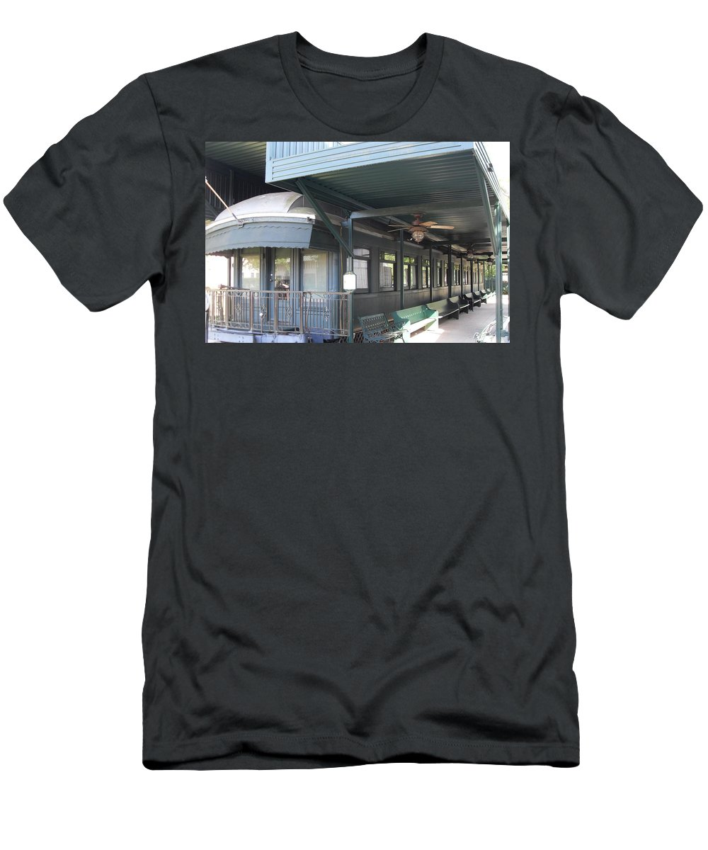 Railroad Cars Men's T-Shirt (Athletic Fit) featuring the photograph Jay Gould Private Rr Car by Donna Wilson