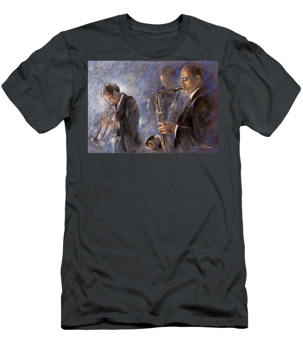 Jazz Men's T-Shirt (Athletic Fit) featuring the painting Jazz 01 by Miki De Goodaboom
