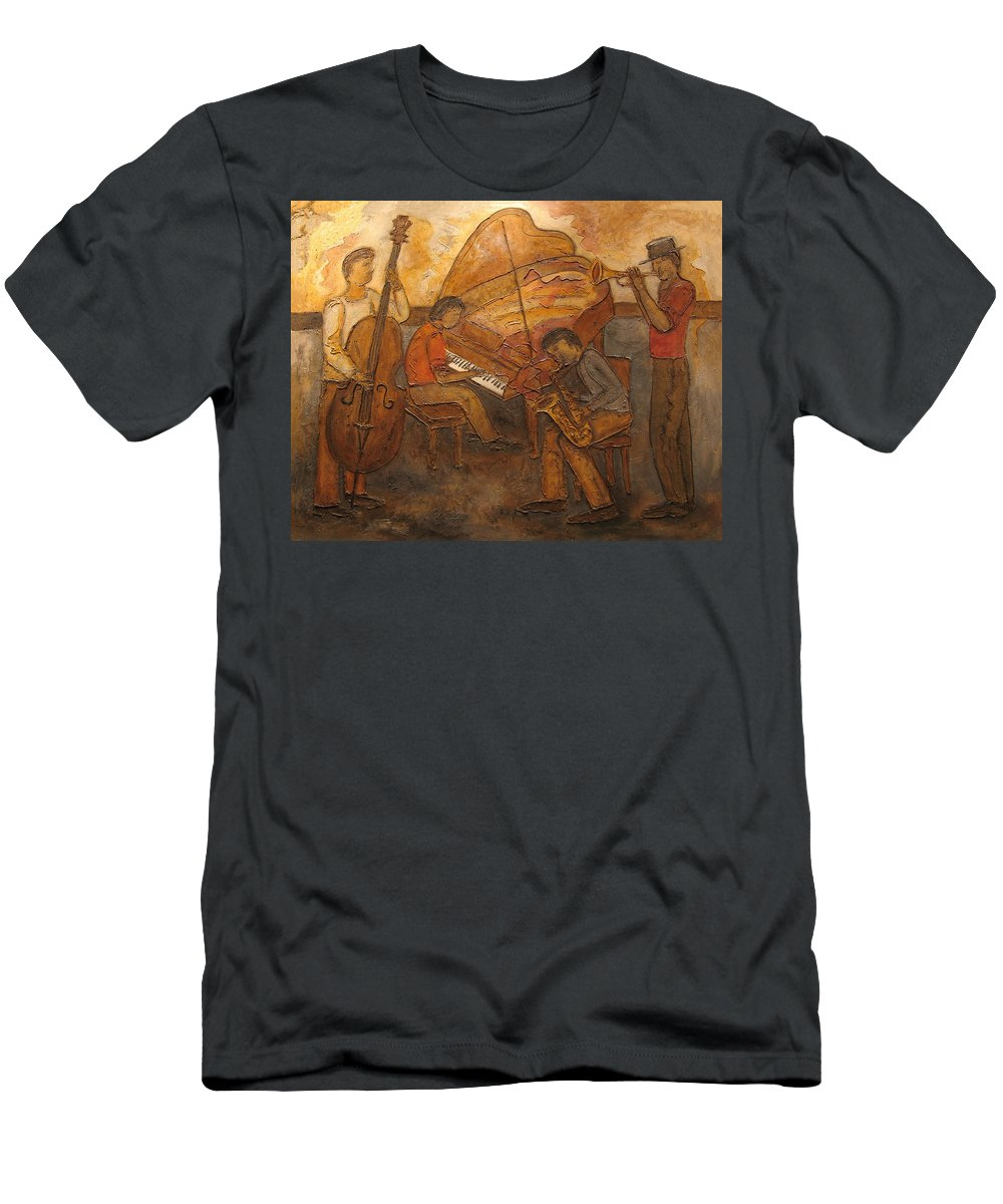 Impressionist Men's T-Shirt (Athletic Fit) featuring the painting Jazz Quartet by Anita Burgermeister