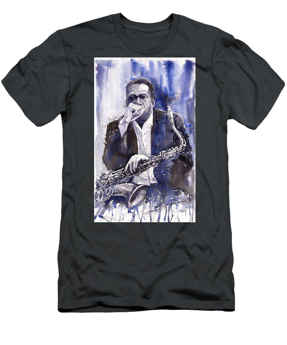 Jazz Men's T-Shirt (Athletic Fit) featuring the painting Jazz Saxophonist John Coltrane Blue by Yuriy Shevchuk
