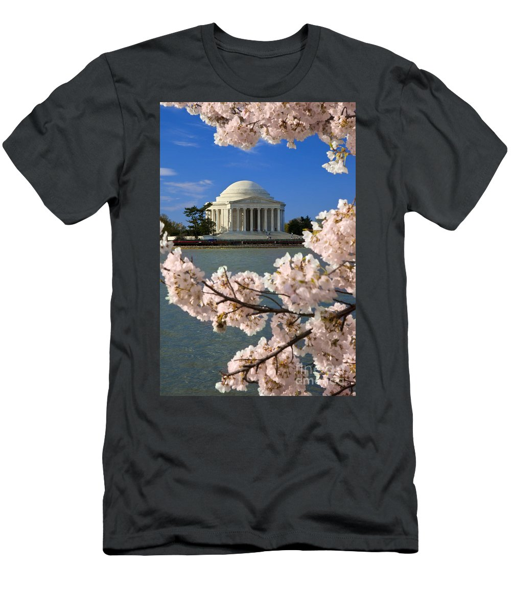 Thomas Jefferson Men's T-Shirt (Athletic Fit) featuring the photograph Jefferson Memorial Cherry Trees by Brian Jannsen
