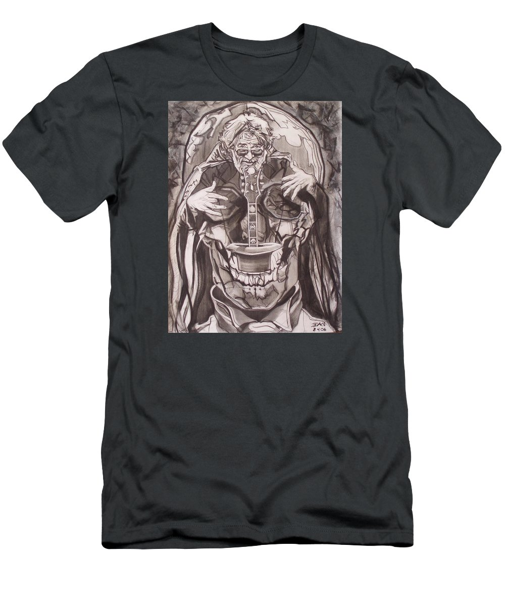 Charcoal; Skull;guitar;music;magic;mystic;wizard;cape;hat;shades;grateful Dead;deadheads Men's T-Shirt (Athletic Fit) featuring the drawing Jerry Garcia . . Magic Is What We Do - Music Is How We Do It by Sean Connolly