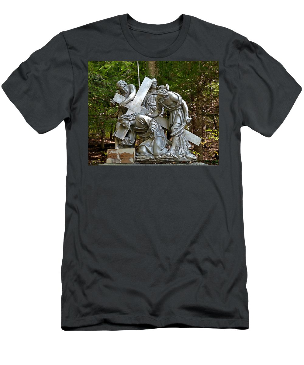 Angel Men's T-Shirt (Athletic Fit) featuring the photograph Jesus Falls The First Time by Terry Reynoldson