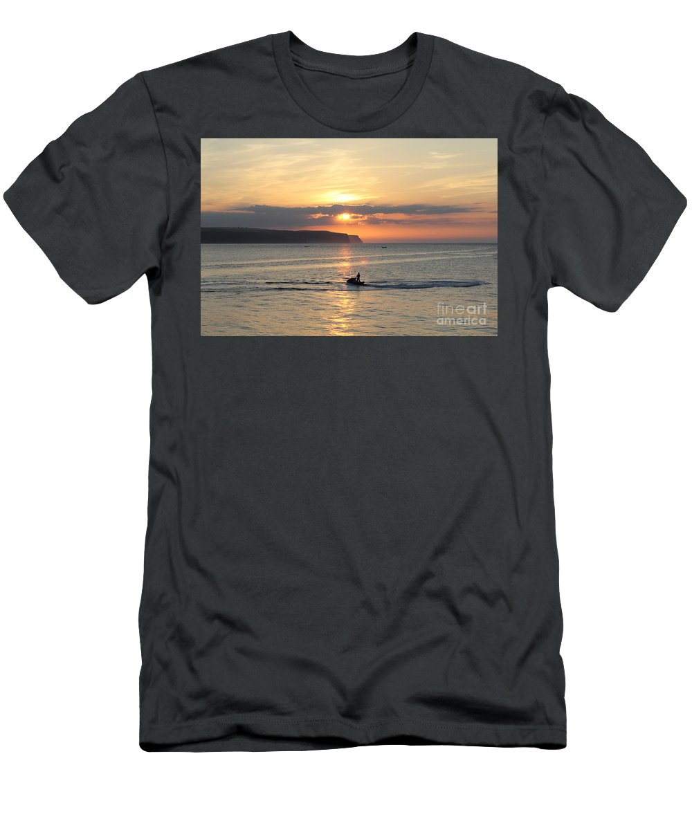 Yorkshire Sea Uk Jet Bike Sunset Dramatic Clouds England Uk English British Britain Landscape Seascape Sky Skies Drifting Jetbike Jet Ski Jetski Men's T-Shirt (Athletic Fit) featuring the photograph Jet Bike Sunset by Julia Gavin